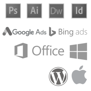Chris Freeman, software logos. Adobe Photoshop, Illustrator, Dreamweaver, Illustrator. Google Ads, Bing Ads. Microsoft Office, WordPress, on Windows & Mac.