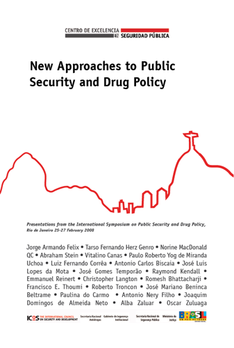 Conception de la couverture et mise en page du livre 'New Approaches to Public Security and Drug Policy'.