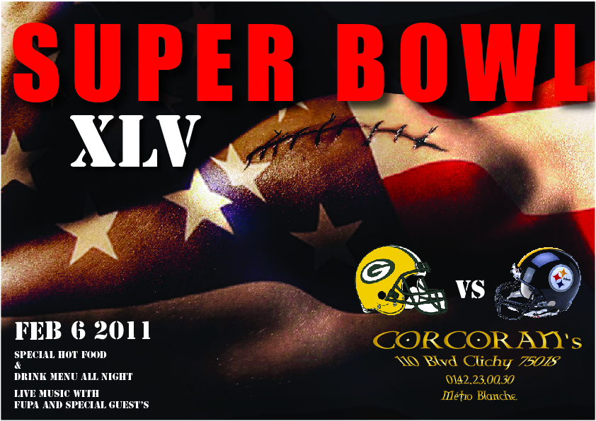 Conception d'affiche pour le Super Bowl XLV à Corcoran, Place de Clichy, Paris.Superbowl XVL affiche.