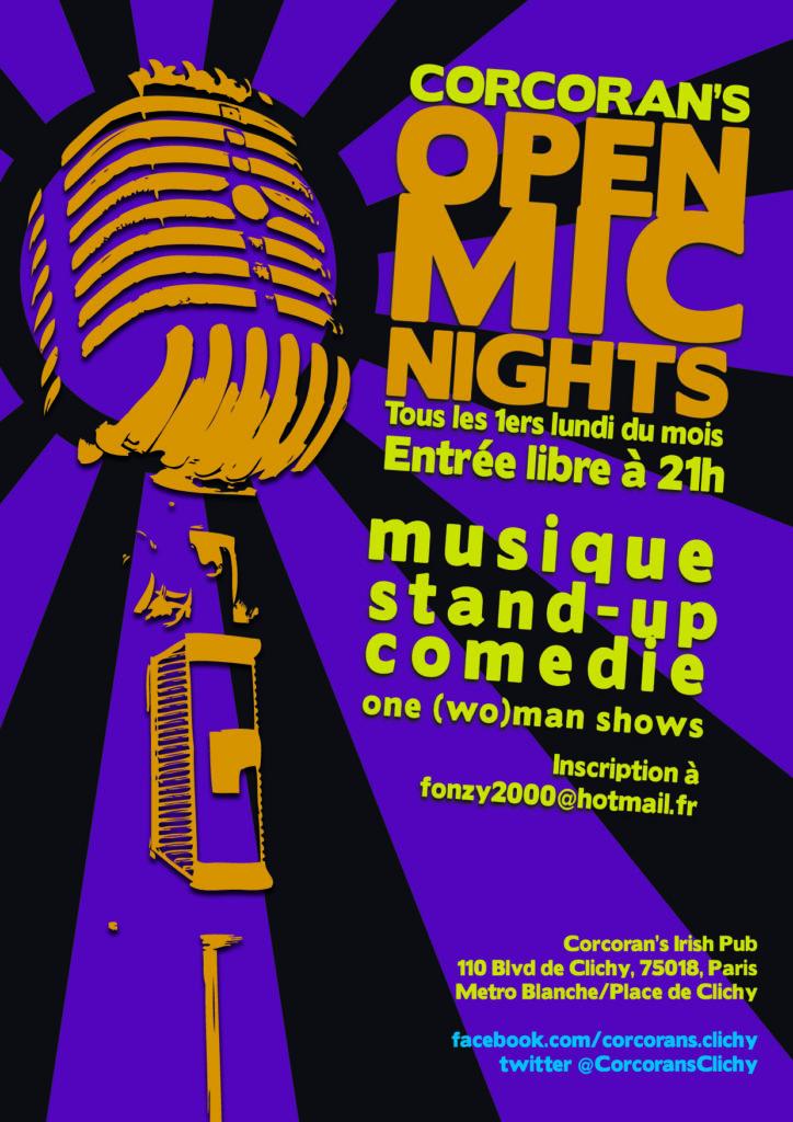 Conception d'affiche pour l'événement 'Open Mic' à Corcoran, Place de Clichy, Paris.
